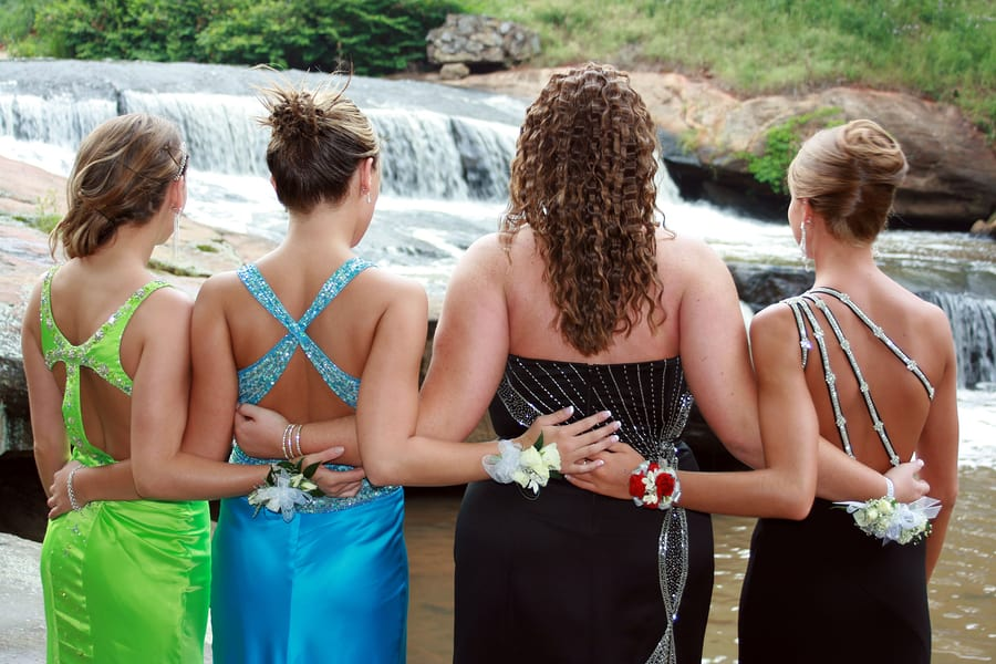 Image of girls in prom dresses